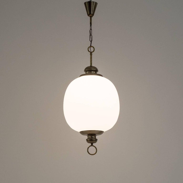 Frosted Italian Satin Glass Pendant, 1950s For Sale
