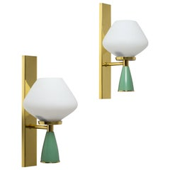 Italian Satin Glass Sconces, 1950s, Brass and Green