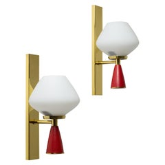 Italian Satin Glass Sconces, 1950s, Brass and Red