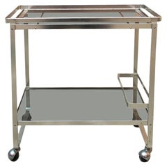 Italian Satin Steel and Smoked Glass Bar Trolley with Bottle Holder, 1970s