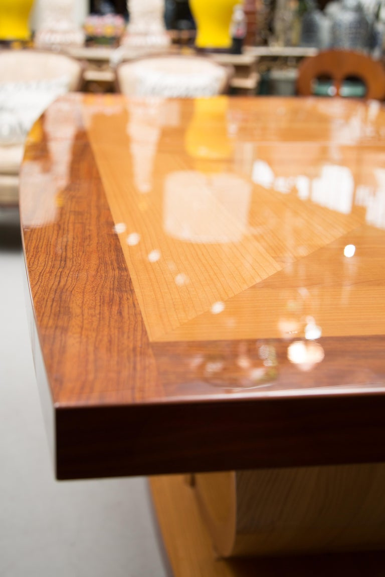Italian Satinwood Dining Table in the Manner of Karl Springer In Good Condition For Sale In WEST PALM BEACH, FL