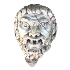 18th - 19th Century Satyr Mask Fragment in Marble