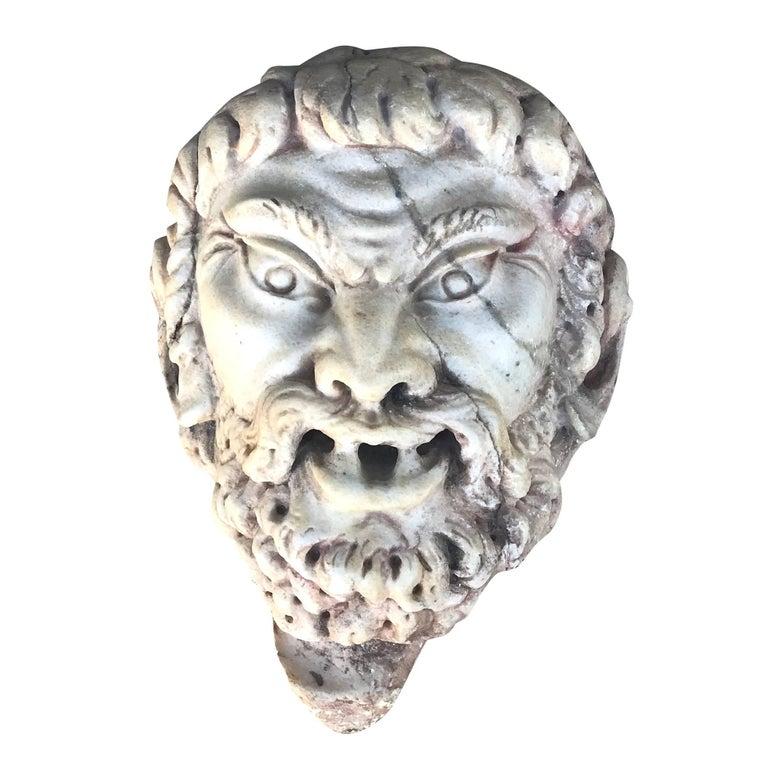 Italian Satyr Mask Fragment in Marble