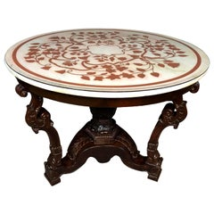 Italian Scagliola White Marble-Top Carved Wood Center Table, 19th Century