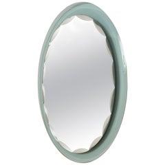 Italian Scalloped Mirror Crystal Art, Italy, 1960s. Fontana Arte Style
