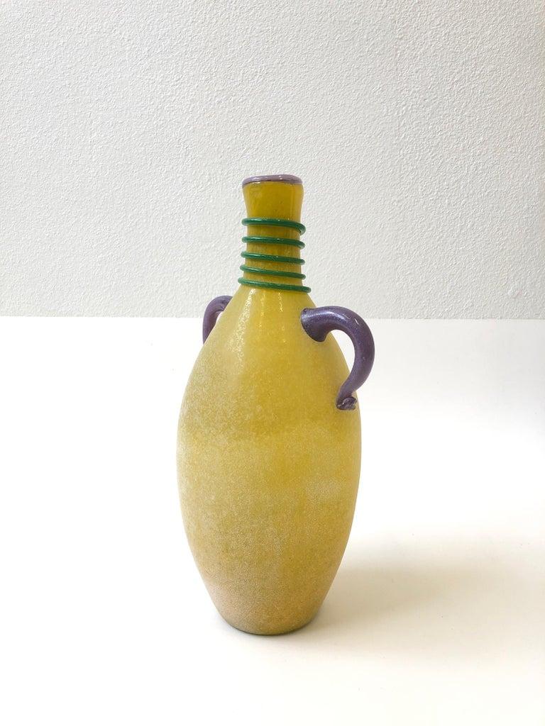 Modern Italian Scavo Murano Glass Vase by Franco Moretti For Sale