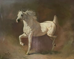 Huge White Grey Horse Oil Painting Arabian Stallion Horse neutral background