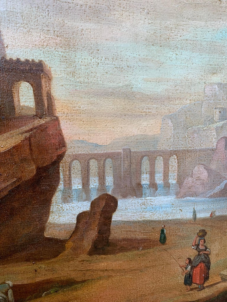 Oiled Italian School 18th Century Oil Painting of Roman Aqueduct and Ruins Landscape For Sale