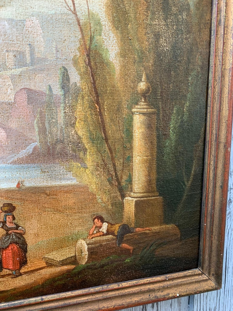Italian School 18th Century Oil Painting of Roman Aqueduct and Ruins Landscape In Good Condition For Sale In Haddonfield, NJ