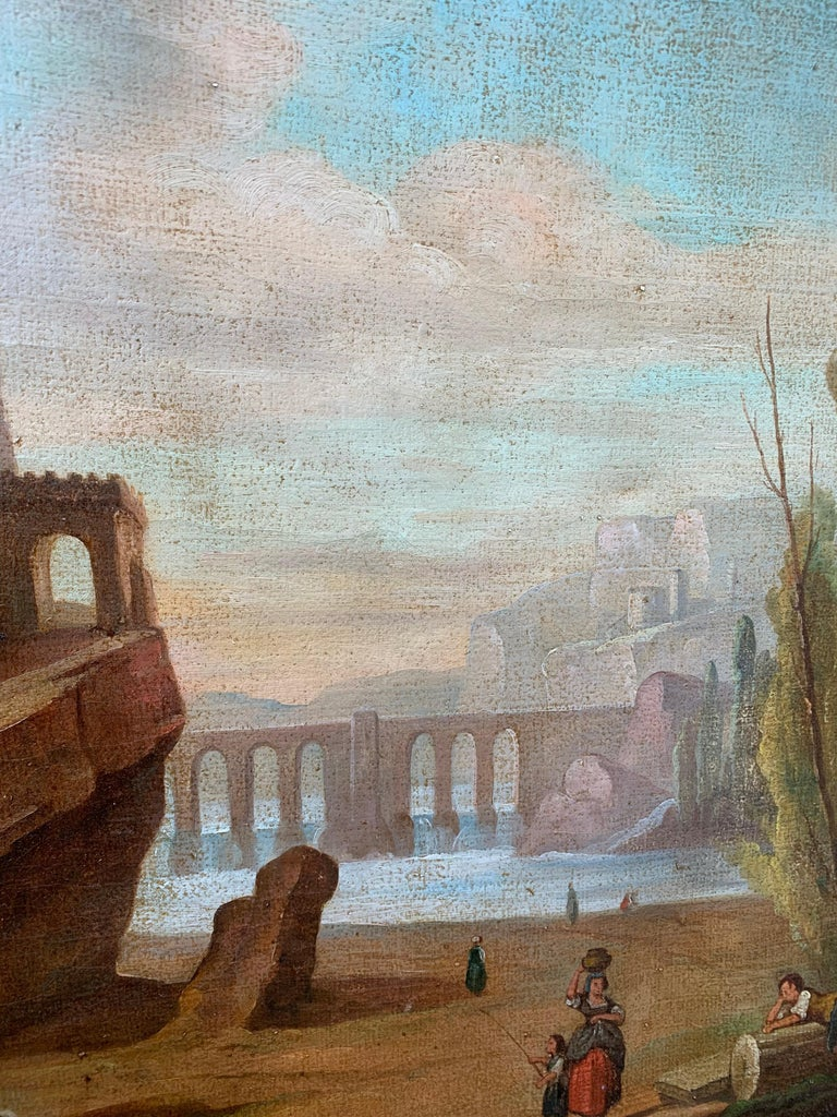 Canvas Italian School 18th Century Oil Painting of Roman Aqueduct and Ruins Landscape For Sale