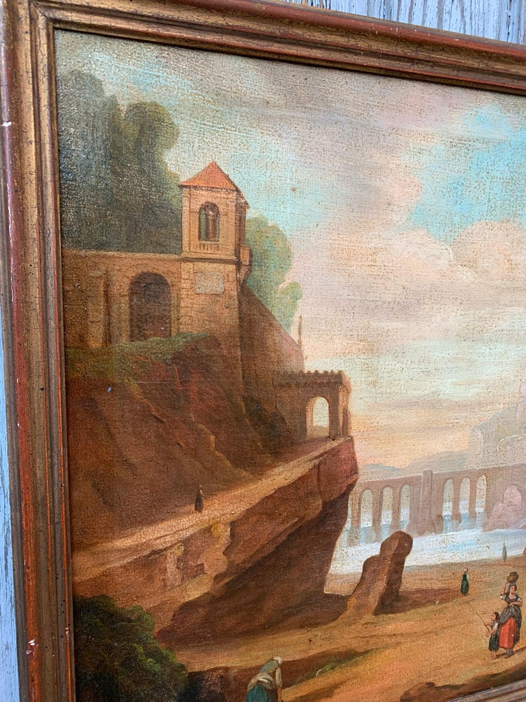 Italian School 18th Century Oil Painting of Roman Aqueduct and Ruins Landscape For Sale 1