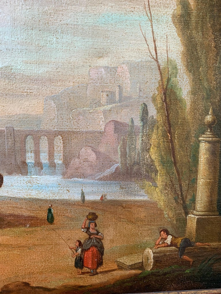 Italian School 18th Century Oil Painting of Roman Aqueduct and Ruins Landscape For Sale 2