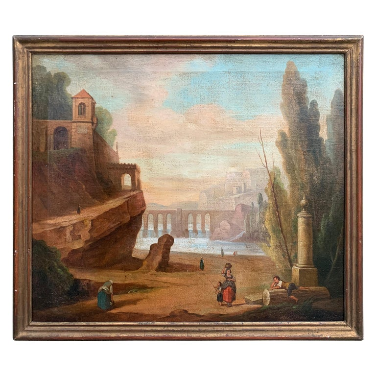 Italian School 18th Century Oil Painting of Roman Aqueduct and Ruins Landscape For Sale