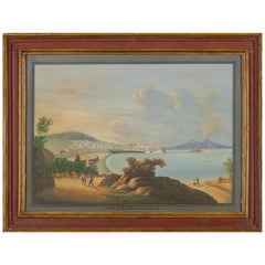 "Italian School 19th Century "" View of Posillipo-Naples "" 58cm x 42cm"