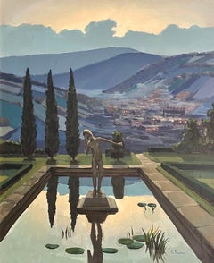 Tuscany Sunset Statue in Waterlily Pool overlooking Tuscan Hills - Signed Oil