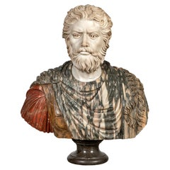 """Italian School 20th Century """" Roman Bust """" Marble"""