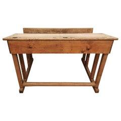 Italian School Desk in Solid Oak, 1890