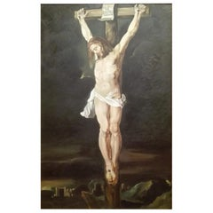 "Italian School Painting 20th Century ""Crucified"""