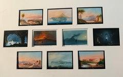 19th century Italian views of Naples, Volcano Versuvius erupting, Capri etc