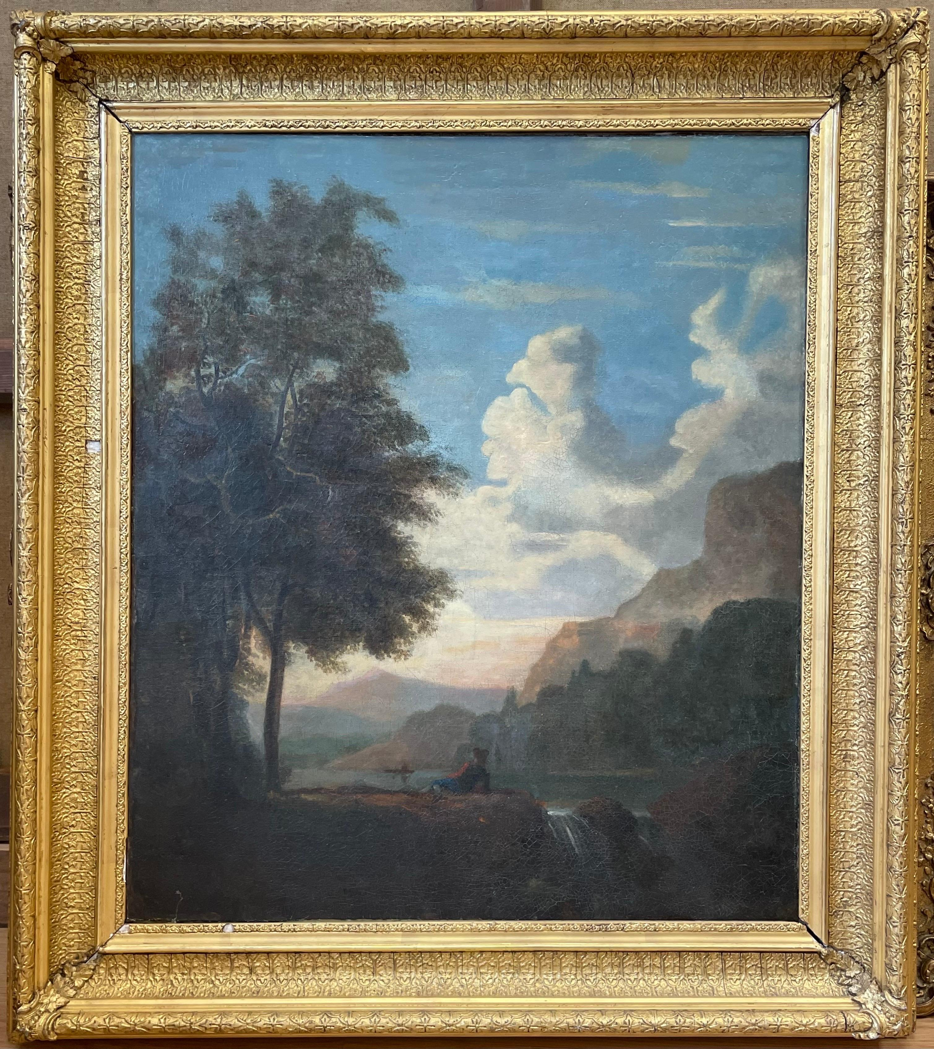 FINE 18thC ITALIAN OLD MASTER OIL PAINTING - FIGURE RESTING BEFORE SUNSET LAKE