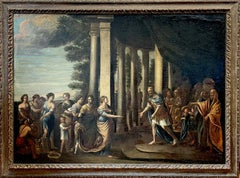HUGE 17thC ITALIAN OLD MASTER OIL PAINTING - KING & COURT FIGURES ROMAN BUILDING