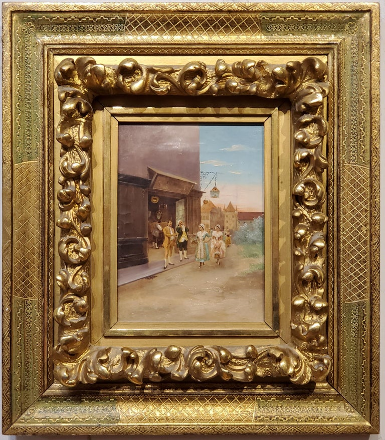Italian School Painting of Elegant figures by a Store. - Brown Landscape Painting by Unknown