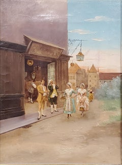 Italian School Painting of Elegant figures by a Store.