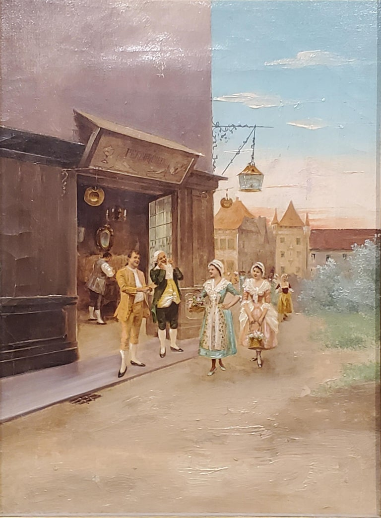 Unknown Landscape Painting - Italian School Painting of Elegant figures by a Store.