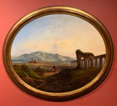 Roman Campagna Ancient Ruins at Sunset, 18th century oil painting on canvas