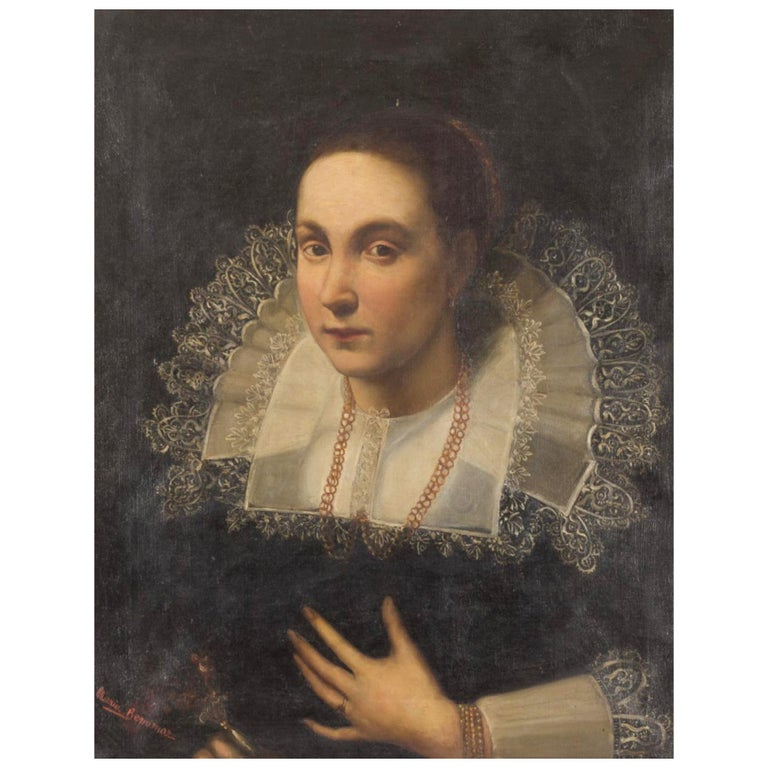 "Italian School ""Portrait Lady"" End 19th Century For Sale"