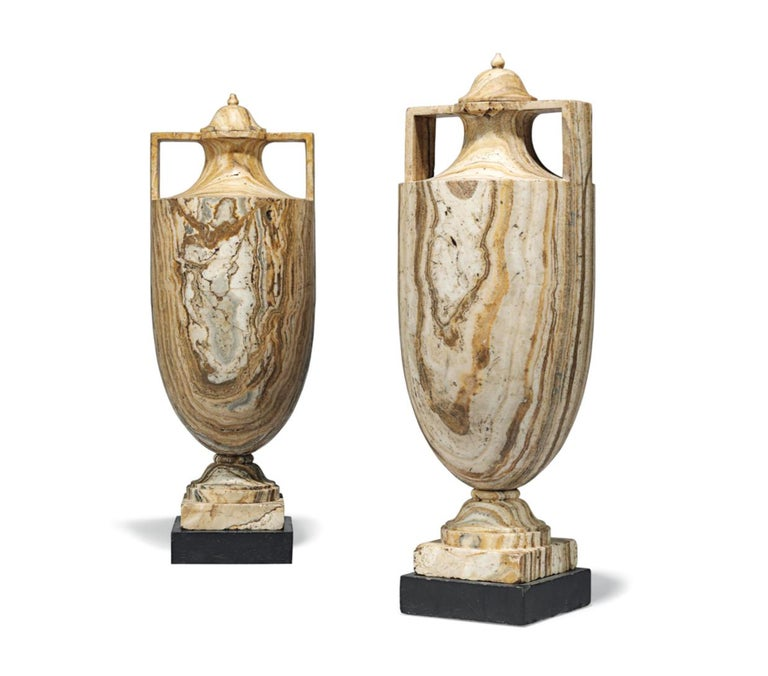 A pair of Alabastro Fiorentino classical vases and covers - Sculpture by Italian School