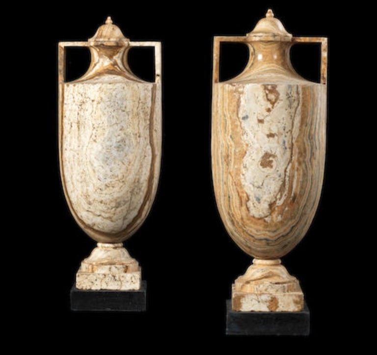 A pair of Alabastro Fiorentino classical vases and covers - Old Masters Sculpture by Italian School