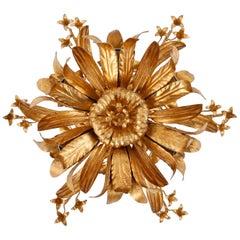 Italian Sconce or Flushmount Light, Gold Bronze, 1970