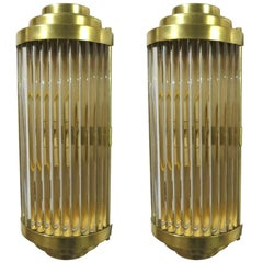 Italian Sconces in Clear Crystal w/ Bar Tubes on Polished Brass Frames, a Pair