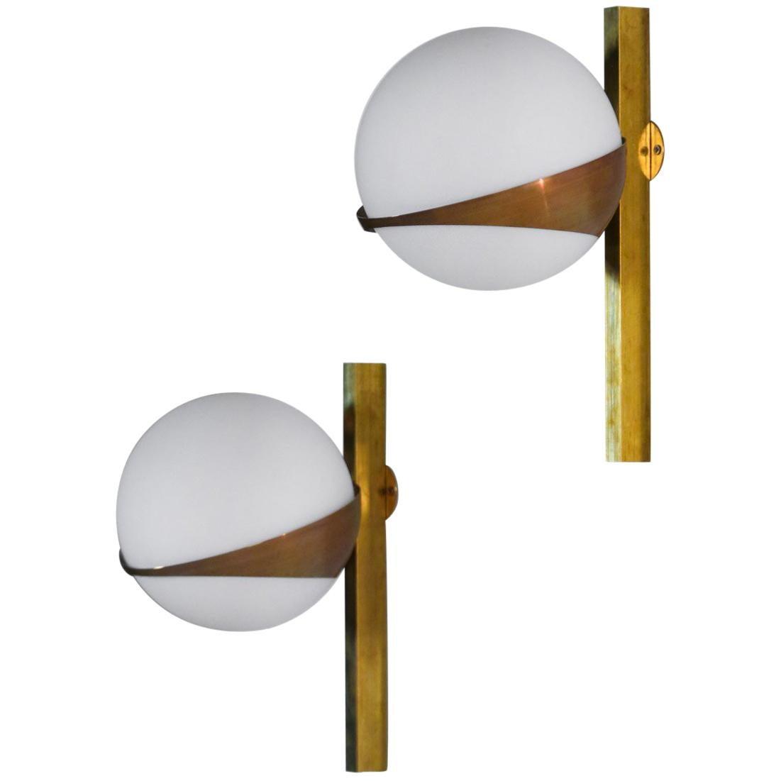 Italian Sconces, Stilnovo Style Design Midcentury, Opaline and Brass