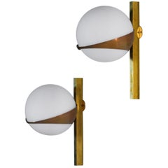 Italian Sconces, Stilnovo Style Design Midcentury, Opaline and Brass