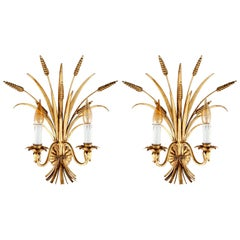 Italian Sconces Wall Lamps, Gilt Metal, 1970s