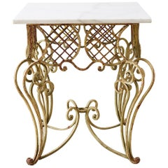 Italian Scrolled Iron and Marble Center Table