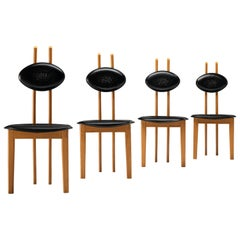 Italian Sculptural Chairs in Black Leather