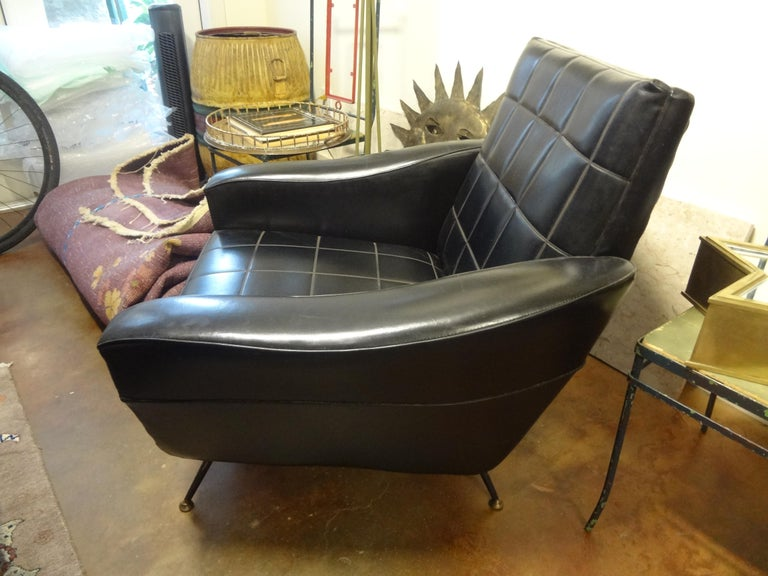 Faux Leather Italian Sculptural Lounge Chair in the Manner of Minotti For Sale