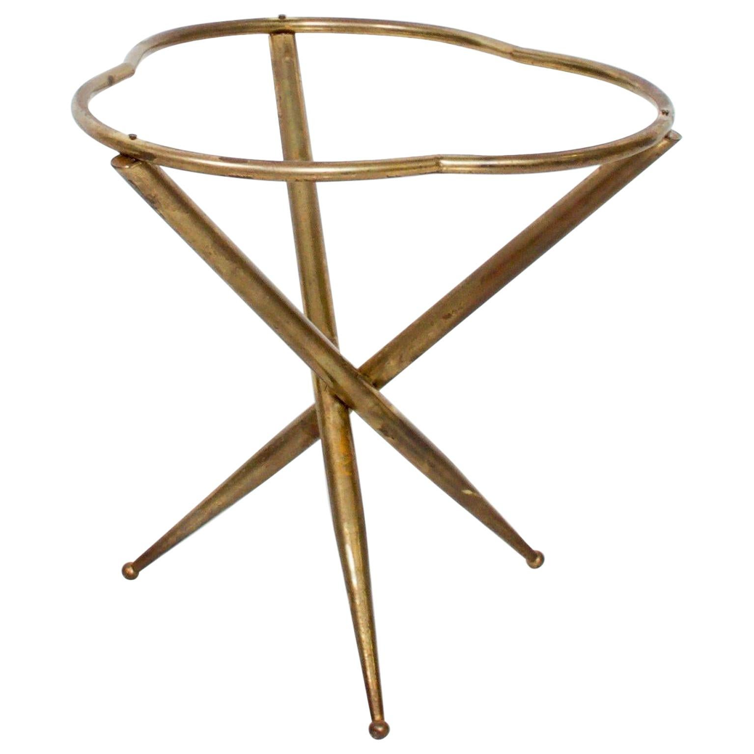 Italian Sculptural Side Tripod Table in Patinated Bronze 1950s Style Gio Ponti
