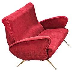 Italian Sculptural Sofa Red Velvet and Brass