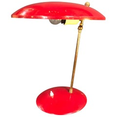 Italian Sculptural Table Lamp in Brass and Red Enameled Metal, 1950s