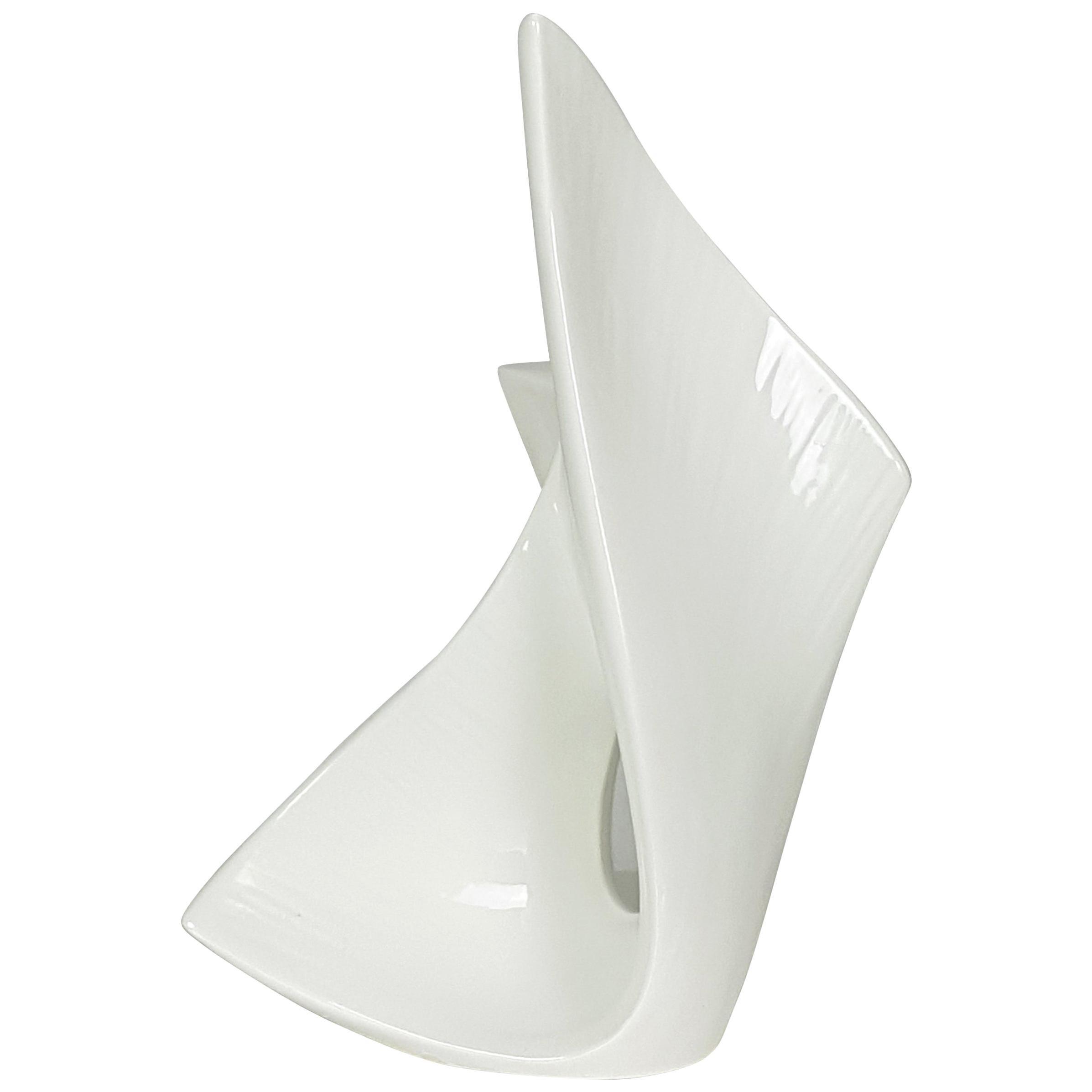 Italian Sculptural White Ceramic Vase from Vibi, 1950s