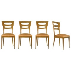 Italian Sculptural Wooden and Velvet Dining Chairs, 1940s, Set of Four