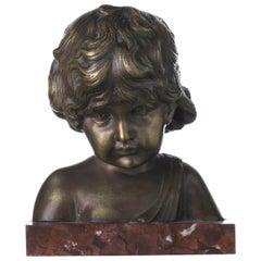 "Italian Sculpture ""Bust of Boy"" Signed Bastiani Art Nouveau"