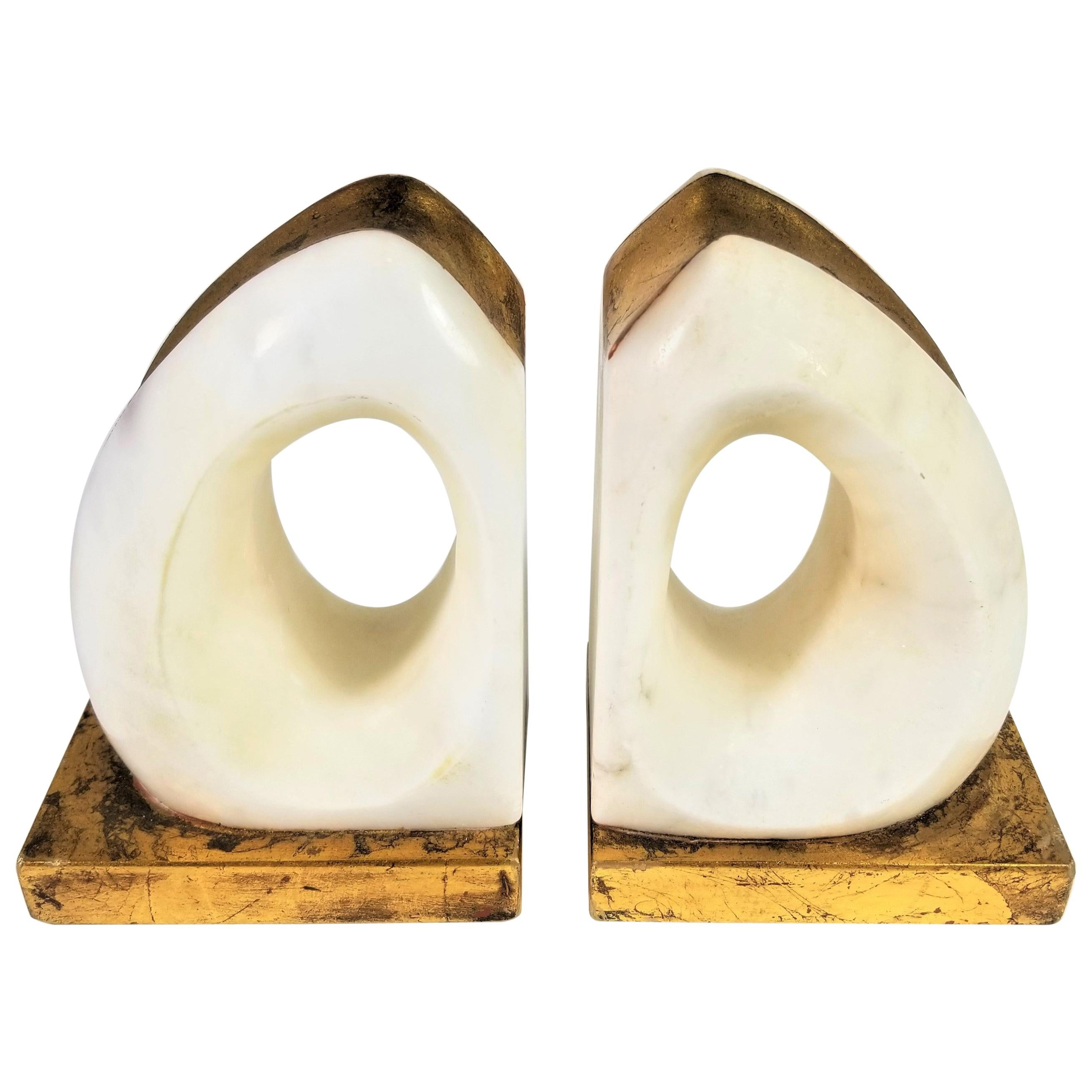 Italian Sculptural Alabaster Marble and Gilded Bookends Midcentury, 1970s-1980s