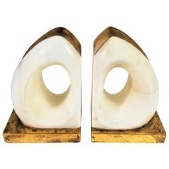 Italian Sculpture Marble and Gilded Bookends Midcentury, 1970s-1980s