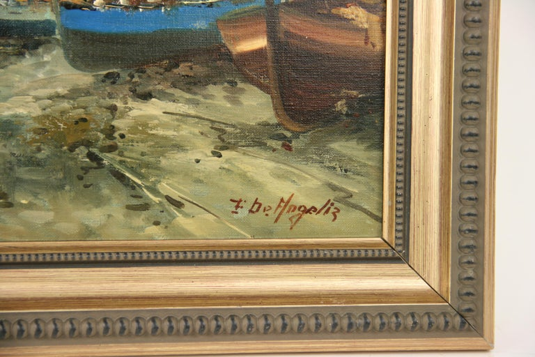 #5-3100 Italian Seascape painting, oil on canvas applied to a board signed by De Angelis, displayed in a giltwood frame. Image size 10.5 H x 13.5 W.