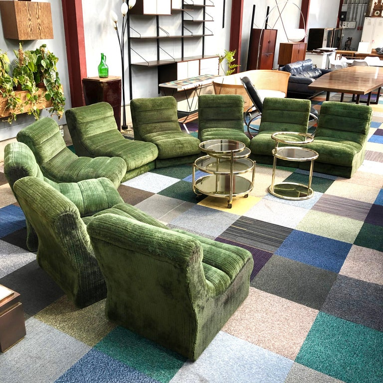 Italian Sectional Sofa in Green Plush, 1970s